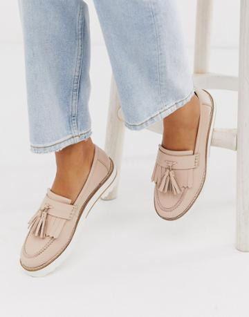 Asos Design Meze Chunky Fringed Leather Loafers In Beige
