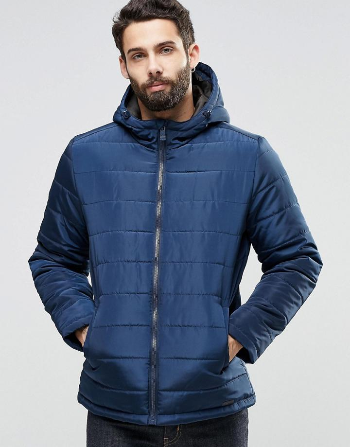 Only & Sons Hooded Quilted Jacket - Navy