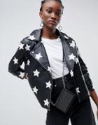 Muubaa Nova Applique Star Leather Biker Jacket - Black
