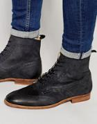 Asos Brogue Boots In Washed Black Leather - Black