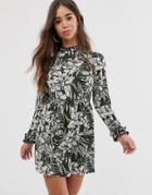 Ax Paris Long Sleeve Skater Dress In Leaf Print - Multi