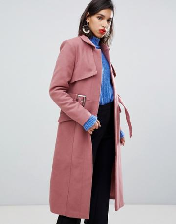 Y.a.s Belted Wool Coat - Pink