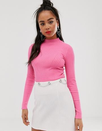 Bershka Basic Ribbed Crew Neck Sweater In Fuschia Pink - Pink