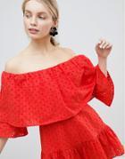 Asos Design Broderie Romper - Red