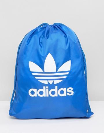 Adidas Originals Trefoil Drawstring Backpack In Blue Bj8358 - Blue