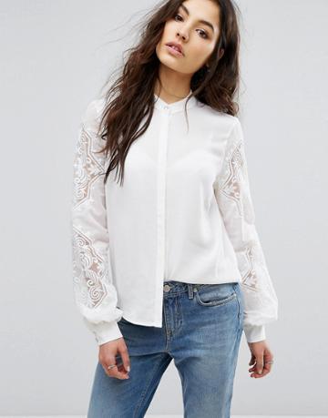 Vila Broderie Detail Shirt - White
