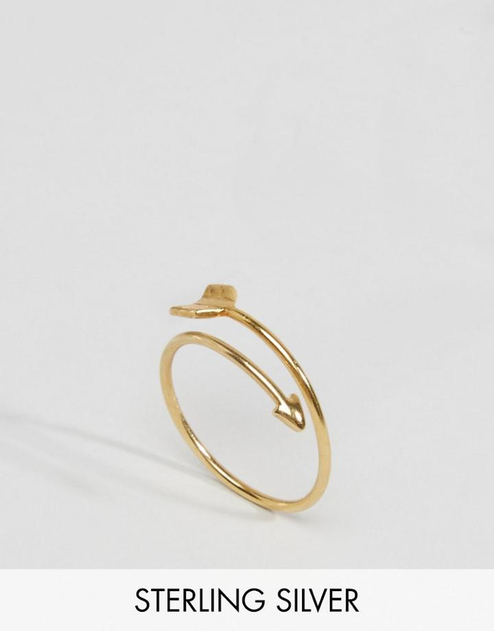 Asos Gold Plated Sterling Silver Arrow Ring - Gold