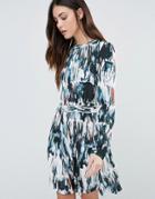 Minimum Printed Long Sleeve Skater Dress - White