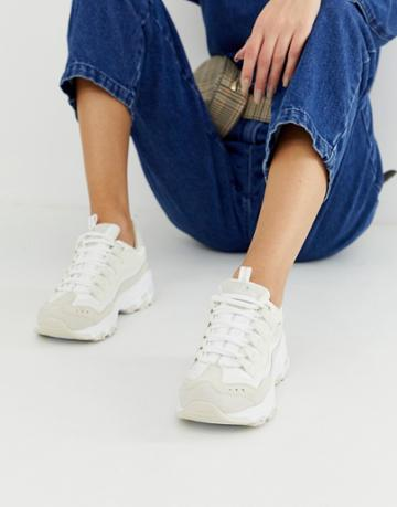 Skechers D'lite Chunky Sneakers In White - White