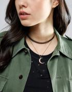 Asos Multirow Moon Choker Necklace - Copper
