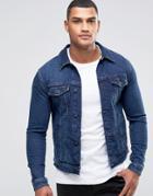 Asos Denim Jacket In Skinny Fit In Blue Wash - Blue