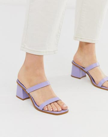 Asos Design High Class Leather Block Heeled Mid Mules In Lilac - Purple