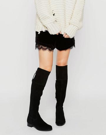 New Look Suede Over The Knee Flat Boot - Black