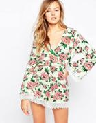 Motel Feather Romper With Crochet Trim - Floral