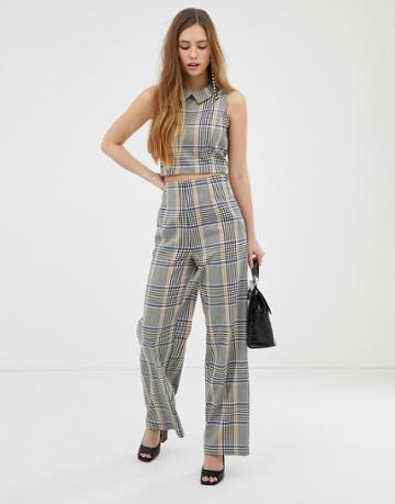 Miss Selfridge Wide Leg Pants In Check - Multi