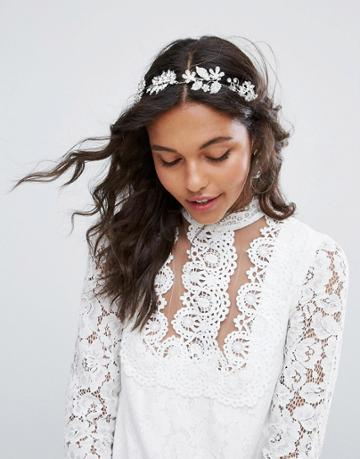 Asos Bridal Metal Flower Ribbon Hair Crown - Silver