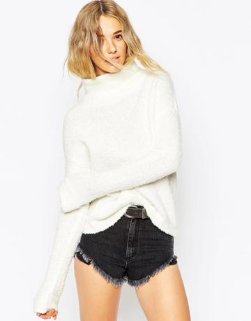 Asos Chunky Sweater With High Neck In Boucle - Cream
