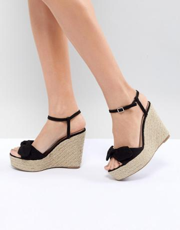New Look Suedette Bow Wedge - Black