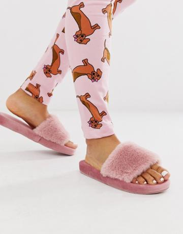 Loungeable Fluffy Slipper In Rose Pink