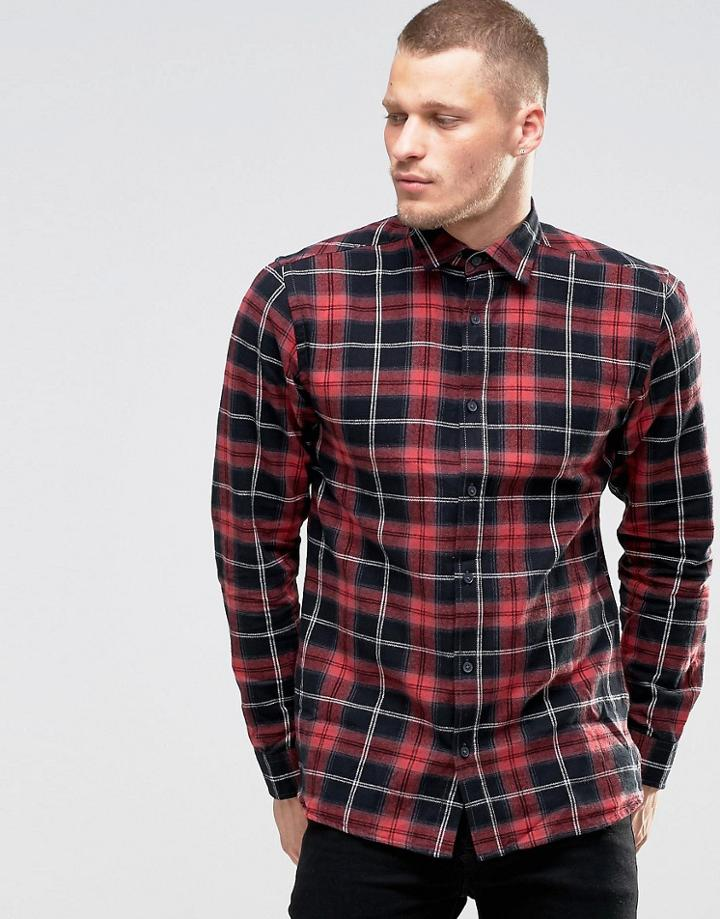 Only & Sons Checked Shirt - Red