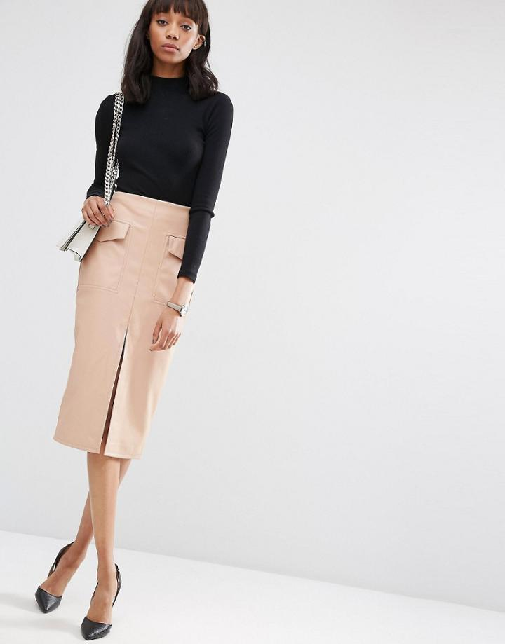 Asos Pu Pencil Skirt With Pockets And Front Split - Beige