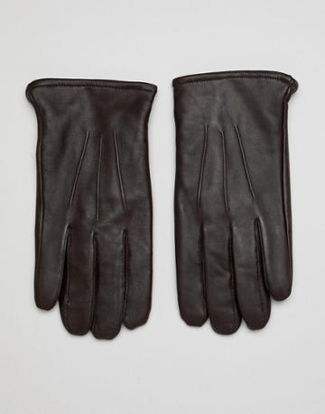 Asos Design Leather Touchscreen Gloves In Brown - Brown