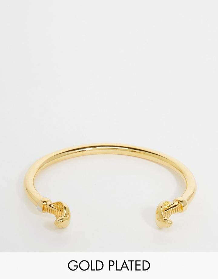 Asos Gold Plated Bangle With Snake Heads - Gold