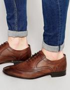 Asos Oxford Brogue Shoes In Brown Leather - Brown