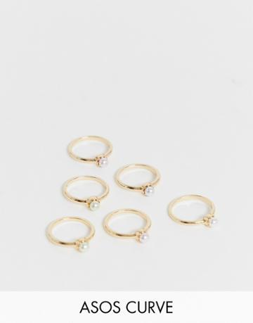 Asos Design Curve Pack Of 6 Rings With Color Pearls In Gold Tone - Gold