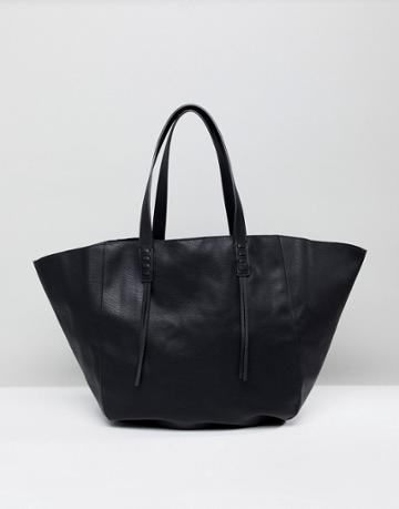 Pull & Bear Tote Bag In Black - Black