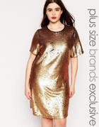 Truly You Sequin Tshirt Dress - Gold