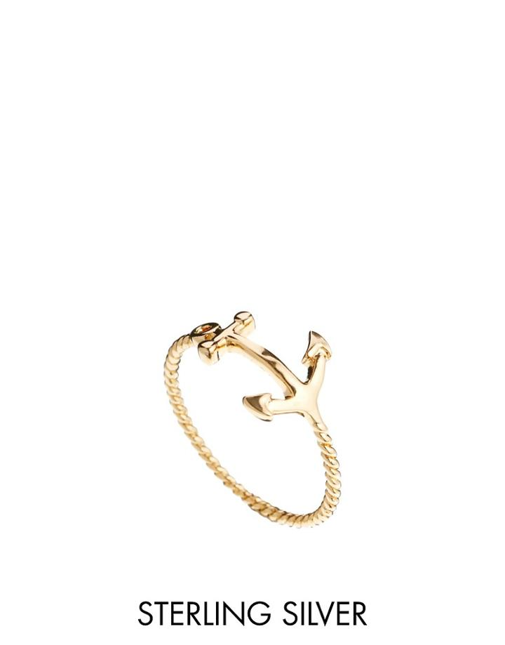 Asos Gold Plated Anchor Ring - Gold