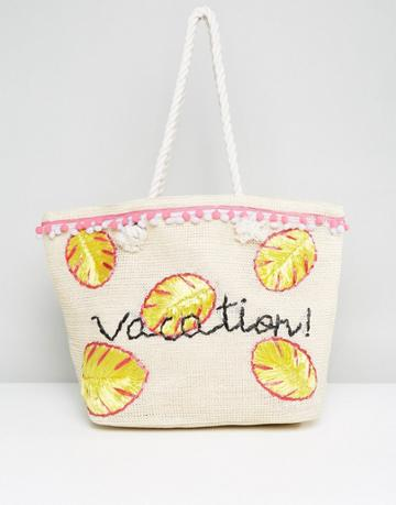 Asos Beach Vacation Slogan Shopper Bag With Rope Handle - Stone