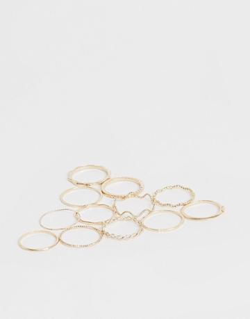 Asos Design Pack Of 12 Rings With Twist Details And Engraved Designs In Gold Tone - Gold