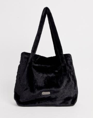 Claudia Canova Fur Tote Bag In Black