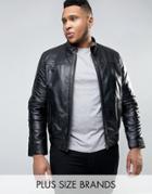 Barneys Plus Premium Nappa Leather Biker Jacket - Black