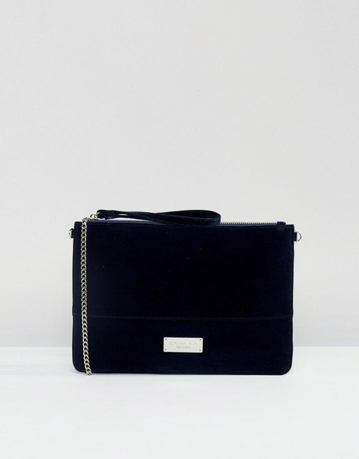Carvela Velvet Pouch Clutch Bag With Optional Chain Strap - Navy