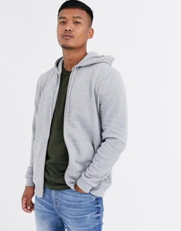 Asos Design Zip Up Hoodie In Gray Marl