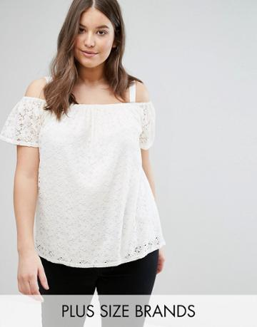 New Look Plus Lace Bardot Cami Top - White