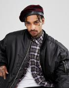 Asos Beret In Black & Red Check - Red