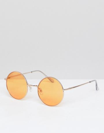Asos Round Sunglasses In Gold With Orange Lens - Gold