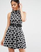 Love Belted High Neck Dress In Geometric Print - Multi