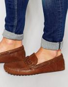 Asos Driving Shoes In Tan Leather With Plaited Strap - Tan