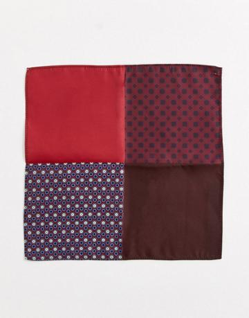 Asos Design 4 Way Pocket Square In Burgundy - Red