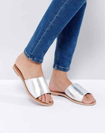 New Look Leather Flat Mule - Silver