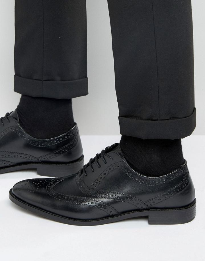 Asos Oxford Brogue Shoes In Black Leather - Black