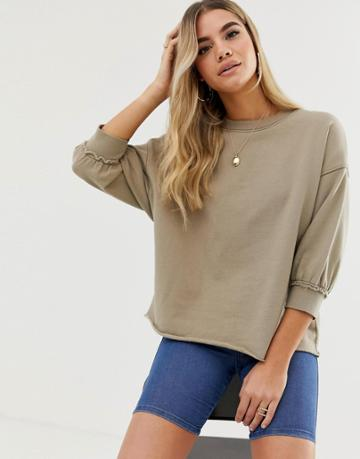 Asos Design Washed Sweat With Wide Sleeve In Khaki - Green