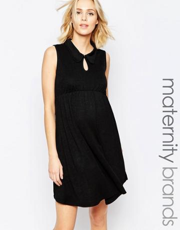 Bluebelle Maternity Swing Dress With Collar - Black