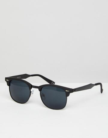Asos Retro Sunglasses In Matte Black With Black Metal Details - Black