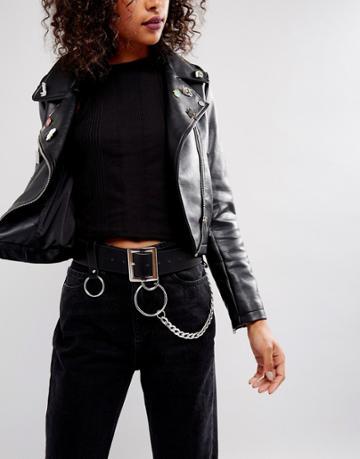 Asos Chain & Ring Detail Waist & Hip Belt - Black